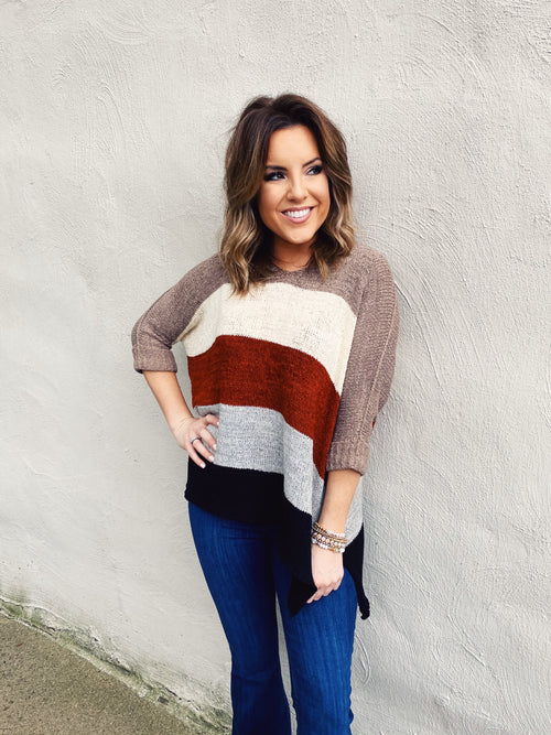 Hi Lo Sweaters are always a great option, especially when they are as adorable as this Fall Love Color Block Sweater! This cute fall sweater has wide stripes in the best fall colors....rust, mocha, off white, grey & black! This Oversized Sweater looks and feels great on! Multitudes Boutique. Cutest Online Boutique.