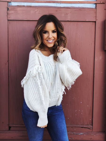 Creamy Cable Fringe Sweater