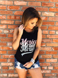 Y'all, we LOVE the MERICA Tank Top and aren't waiting till the Fourth to wear it! It's a classic! So throw it on over your bathing suit at the lake, with your High Waisted Distressed Jean Shorts while running errands, or with your fun Distressed Flares to your next concert! Multitudes Boutique. Cutest Online Boutique.