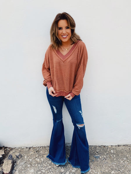 Oatmeal Boyfriend Fit Henley Top