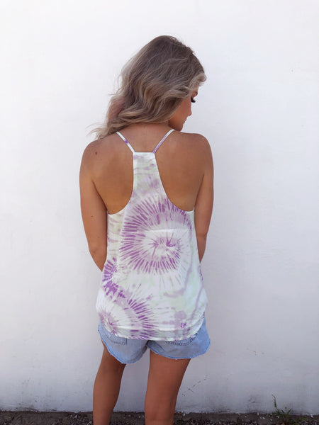 Do you love a pretty Tie Dye? Well, check out the Lavender Tie Dye Tank Top! Tie Dye Tops are trending, and this Pastel Tie Dye Cami is the prettiest one we've seen. Pair this cute tie dye tank with white jeans for a great date night look! Multitudes Boutique. Cutest Online Boutique. Free Shipping over $65. Tie Dye Top