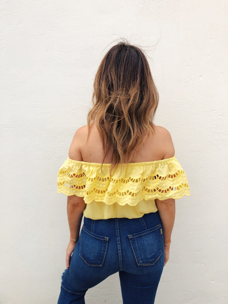 If you love to shine, you must grab the Yellow Off the Shoulder Top! It's will be your favorite summer crop top. Lace Off the Shoulder Crop Tops are all the rage. You will look stunning in this cute summer top! Trust us, it will go fast so snag it while you can! Multitudes Boutique. Cutest Online Boutique. Free Ship.