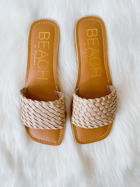 Step out in style with the Valley Braided Sandal in Nude by Matisse Footwear. A woven-leather wide strap and square toe add chic style to this Slide On Sandal. Open Toe Sandal. Square Toe Sandal. Leather Upper. Whole Sizes Only, for 1/2 Sizes, order next size up. Multitudes Boutique. Cutest Online Clothing Store.