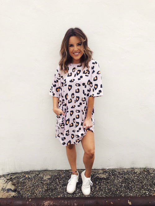 Lilac Oversized Cheetah Tee Dress