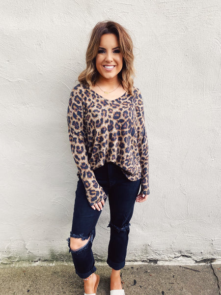 Leopard Print Sweaters are always a GREAT Idea! Snag this Soft Leopard Print Sweater for your Fall Wardrobe! Girl, this Leopard Print Sweater is the SOFTEST thing you will wear this fall, and, it'll look great with blue & black denim, distressed or not, dressed up or down! Multitudes Boutique. Cutest Online Boutique.
