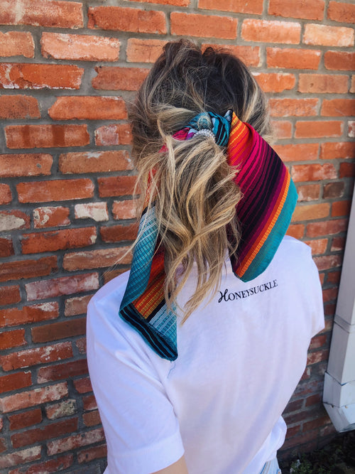 "Y'all, The Kimberly Wild Rag is the NEXT TRENDY ACCESSORY to add to your wardrobe!! This bandana sized scarf has a satin feel. Tie it up in your hair like we showed here, or tie it around your hat, your neck, your wrist, or your purse strap! The Kimberly Wild Rag will add a little zing to any outfit! 19.5"" x 19.5"" 100% Polyester. Best Online Boutique."
