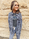 Flannel Shirt for Women by Multitudes - This Olive Frey Hem Boyfriend Flannel is one every closet needs! This women's flannel shirt is a bit oversized, is super soft, and has olive, navy, and white in the plaid. Honeysuckle Tees. Multitudes Boutique. Cutest Online Boutique.