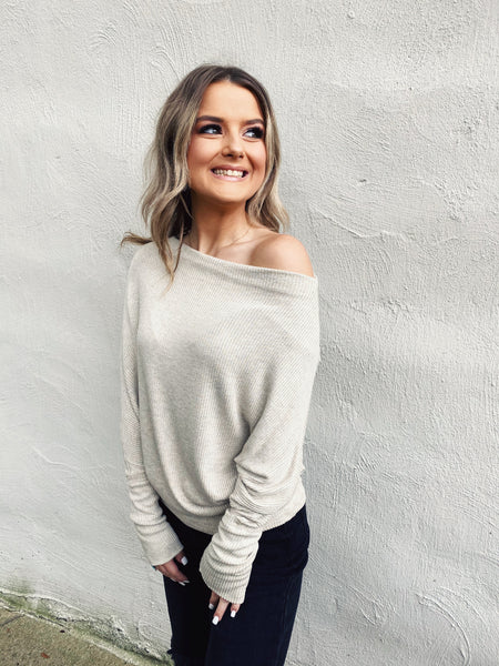 This Off the Shoulder Sweater is the only one you need! The quality of this Oatmeal Dolman Sleeve Sweater is unbelievable! That ribbed knit is super soft and stretchy! This Dolman Sweater is special and can be styled so many ways. Multitudes Boutique. Cutest Online Boutique. Elan. Batwing Slouchy Sweater. Neutral.