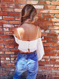 Crop Tops are trending and the White Eyelet Puff Sleeve Crop Top is about as hot as you can get! This Puff Sleeve Top is also an Off the Shoulder Crop Top! It's adorable! Pair this with your high waisted Distressed Denim Shorts or Flare Jeans and you're sure to turn heads! Multitudes Boutique. Cutest Online Boutique.