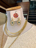 Evil Eye Earrings at Multitudes Boutique - The Keep Watch Earrings are to die for! These Gold Plated earrings are adorned with pearls and gold dots for texture. Approximately 1.6