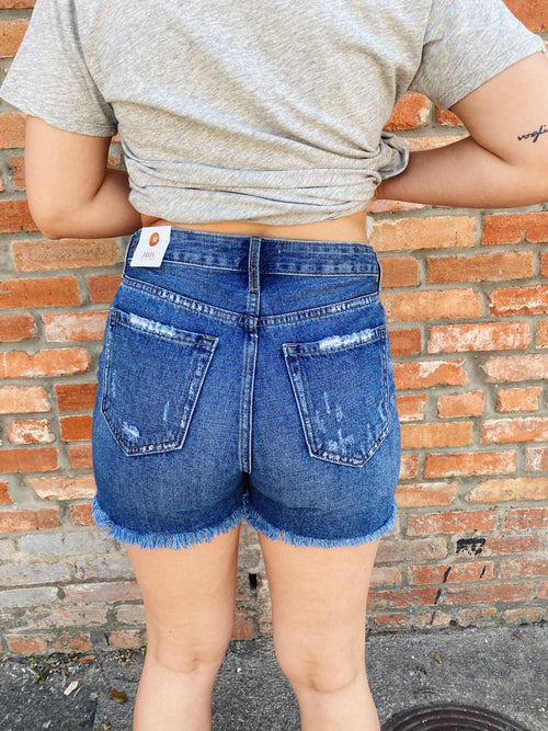 The Highland High rise Distressed Short will uplevel your denim. These HIgh Rise Jean Shorts feature a medium wash, a high waist, a longer length, and distressing. Pair these Distressed Jean Shorts with a basic white tee for a classic look. Multitudes Boutique. Cutest Online Clothing Store.