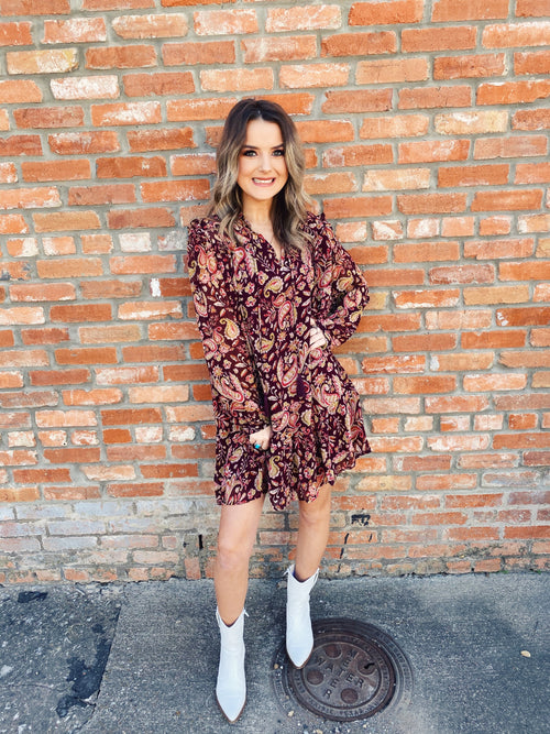Cute Fall Dresses at Multitudes - The Burgundy Paisley Print Swing Dress is our current crush for Cute Fall Dresses! You will love the throwback paisley print in all the gorgeous fall colors on the burgundy background. Swing Dresses. Babydoll Dresses. Boho Dress. Multitudes Boutique. Cutest Online Boutique.