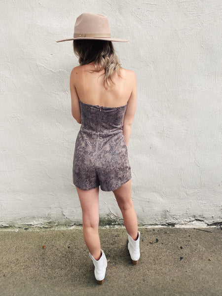 Strapless Rompers are a must, especially when they are as cute as this Strapless Suede Snake Print Romper! This fall romper is lined, has a back zipper, front pockets, and elastine along the bodice to keep it in place! You will LOVE how this strapless romper feels and fits! Multitudes Boutique. Cutest Online Boutique.