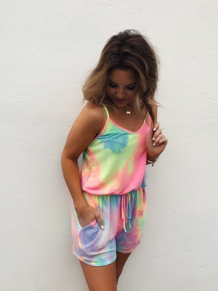 Rompers for Juniors are trending, and this Pink Neon Tie Dye Romper is a cute example! We love the tie dye mix of bright pinks and yellows, light blues and greens. It's so bright and cheerful! And, this Tie Dye Romper is super soft and comfy. You'll grab for it on repeat! Multitudes Boutique. Cutest Online Boutique.
