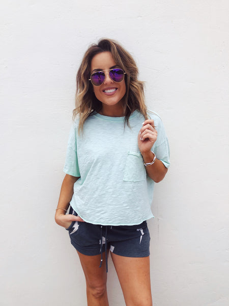 Blue Oversized Cropped Pocket Tee