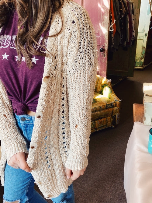 Lightweight Summer Cardigans at Multitudes Boutique - The Ivory Loose Weave Cardigan is a must-have for your closet this Spring & Summer. This Open Knit Sweater is beautifully woven and of high quality! You will reach for this Open Front Cardigan again and again! Multitudes Boutique. Cutest Online Boutique.