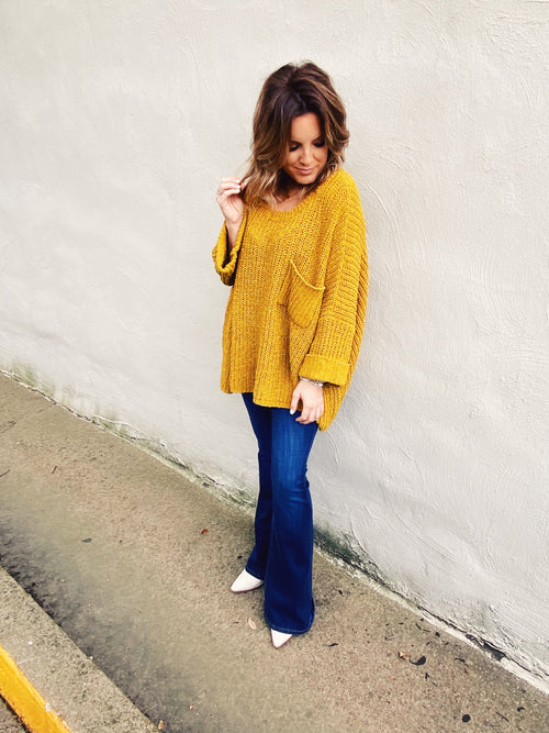 Do you love Oversized Sweaters? Then grab this Mustard Oversized Chenille Pocket Sweater! Wear this slouchy sweater with your flares, your skinnies, and even your mom jeans! No matter how you wear this oversized sweater, pop it off your shoulders and watch the heads turn! Multitudes Boutique. Cutest Online Boutique.