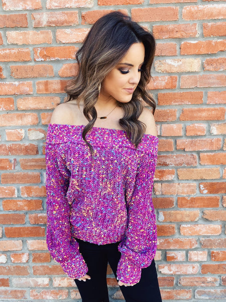 Lavender Two Tone Knit Cardigan