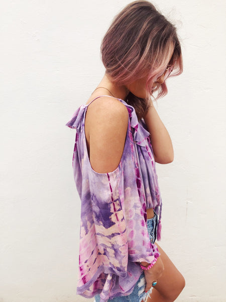 Love Boho Chic Tops? Check out this Lavender Tie Dye Flowy Top! Flowy Tops are fun to wear, and this Tie Dye Top is our favorite! It has all the details you want in a boho style top and you will look amazing when you pair it with your favorite High Waisted Flare Jeans! Multitudes Boutique. Cutest Online Boutique.