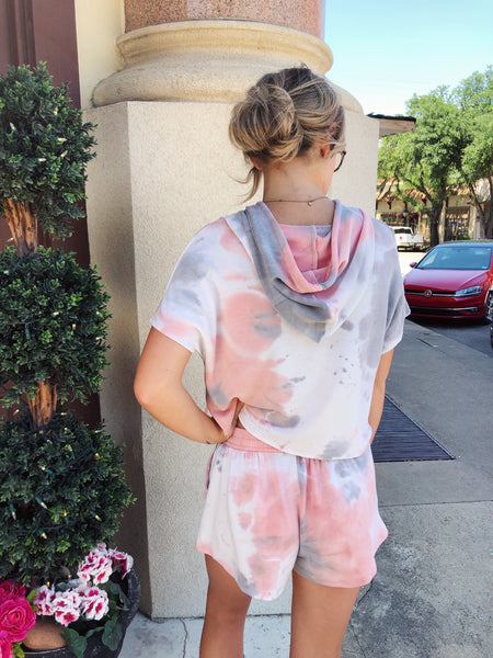 Looking for a Tie Dye Two Piece Set? Then grab this Salmon Tie Dye Hooded Top first, then snag the matching lounge shorts! We are loving the tie dye set trend, and we know you are too! This cute crop top hoodie also looks great with your distressed mom jeans! Multitudes Boutique. Cutest Online Boutique.