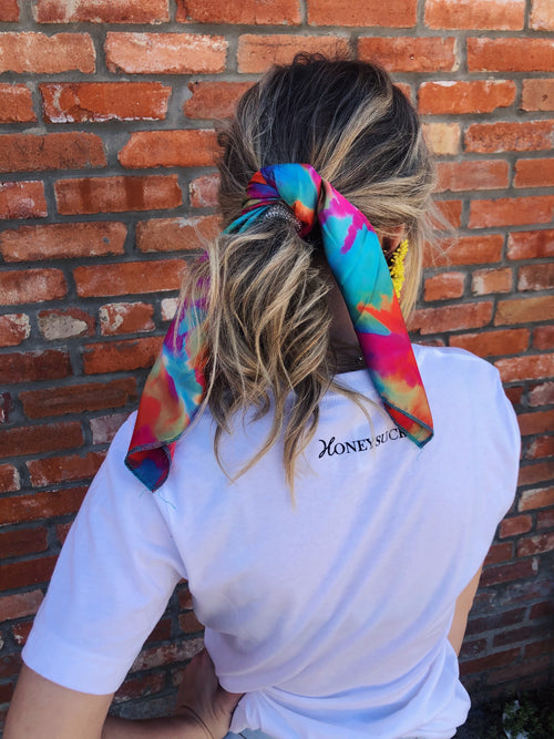 "Y'all, The Jenny Wild Rag is the NEXT TRENDY ACCESSORY to add to your wardrobe!! This bandana sized scarf has a satin feel. Tie it up in your hair like we showed here, or tie it around your hat, your neck, your wrist, or your purse strap! The Jenny Wild Rag will add a little zing to any outfit! 19.5"" x 19.5"" 100% Polyester. Best Online Boutique."