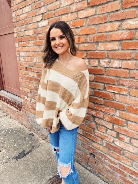 Oatmeal Ribbed Boatneck Sweater