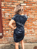Looking a Bodycon Tshirt Dress? Then get the Charcoal Tie Dye Tee Dress! Ruched t-shirt dresses are trending and so is tie-dye, so we combined the two in this Tie Dye Tee Dress. Y'all, it's the cutest dress we've seen and a must-have addition to your 2020 Summer Wardrobe! Multitudes Boutique. Cutest Online Boutique.
