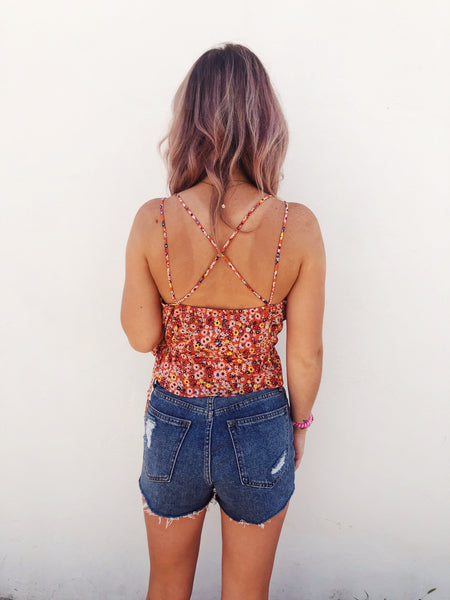 Orange Ditsy Floral Wrap Top