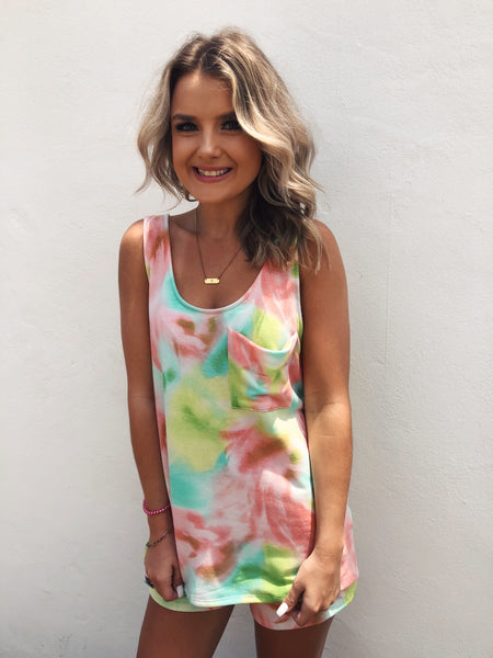 We just stocked the cutest Tie Dye Short Set! The top is called the Sherbet Tie Dye Tank Top and it's so cute! You can wear this Tie Dye Lounge Top with the matching Sherbet Tie Dye Shorts, or with your favorite distressed denim shorts! Girl, you need this tie dye short set in your life! Multitudes Boutique.