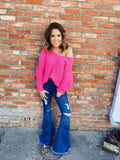 Chunky Knit Sweater by Multitudes - This Neon Pink Chunky Knit Sweater is also an Off the Shoulder Sweater! The oversized chunky knit and oversized fit is trendy. You will love the way this Hot Pink Chenille Sweater fits and feels, and you will wear it on repeat! Multitudes Boutique. Cutest Online Boutique.