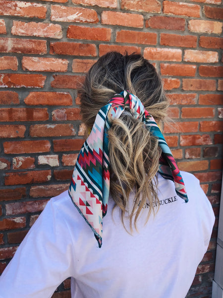 "Y'all, The Annie Wild Rag is the NEXT TRENDY ACCESSORY to add to your wardrobe!! This bandana sized scarf has a satin feel. Tie it up in your hair like we showed here, or tie it around your hat, your neck, your wrist, or your purse strap! The Annie Wild Rag will add a little zing to any outfit! 19.5"" x 19.5"" 100% Polyester. Best Online Boutique."