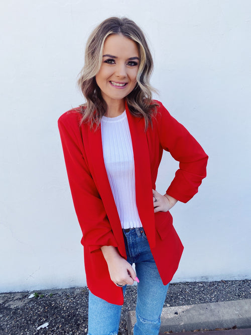 Boyfriend Blazers at Multitudes Boutique - The Red Boyfriend Blazer is gorgeous! This Red Blazer for Women has ruched sleeves, pockets, a lapel, and is lined! The quality of this Ruched Sleeve Blazer is amazing, and you will find yourself wearing it on repeat! Multitudes Boutiqe. Cutest Online Clothing Store.