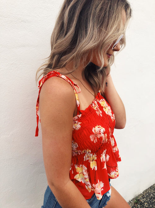 Have you snagged a Smocked Peplum Top Yet? Well, you'll definitely want the Orange Floral Tie Sleeve Top we just stocked! Cute Summer Tops are always at the top of a summer wardrobe list, and the Orange Floral Tie Sleeve Top needs to be on yours! Cute Summer Tops. Multitudes Boutique. Cutest Online Boutique. Free Ship.