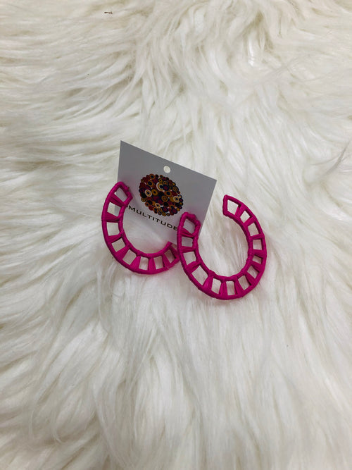 "Our Pink Wrapped in Raffia Earrings are exceptionally cute and trendy! Pair them with a fun sundress or your swimsuit to add a pop of pink to your outfit!  Approx 2"". Best Online Boutique."
