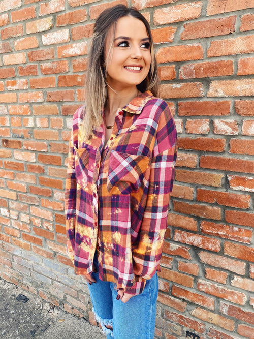 Bleached Flannels are trending and you need this beautifully colored Fall Days Bleached Flannel! Girl, this Fall Days Bleached Flannel will be your go-to! It looks great buttoned up or open over your favorite Honeysuckle Tee! Bleached Flannel by Multitudes. Multitudes Boutique. Cutest Online Boutique. Honeysuckle Tees.