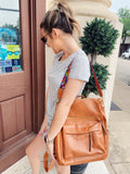 Grab the Brielle Convertible Backpack in Camel to carry all the things you can't live without...and look trendy while doing so! You will love the detachable, colorful guitar style strap and all the compartments of this Convertible Bag! Vegan Leather. 13.5 x 12.5