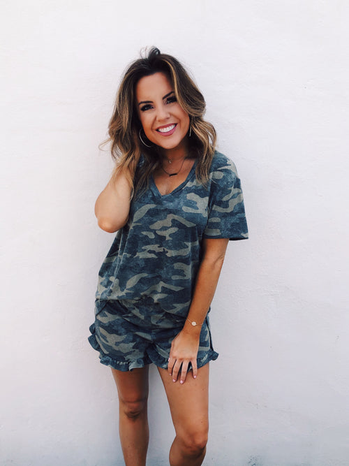 So you can't get enough Camo Tops? Check out this Olive Brushed Camo V-Neck! It's so soft and comfy and perfect right now since we are all staying hone more! And, if you want a fun lounge set look, also get the Olive Brushed Camo Lounge Shorts! Multitudes Boutique. Cutest Online Boutique. Cute Lounge Wear Sets.