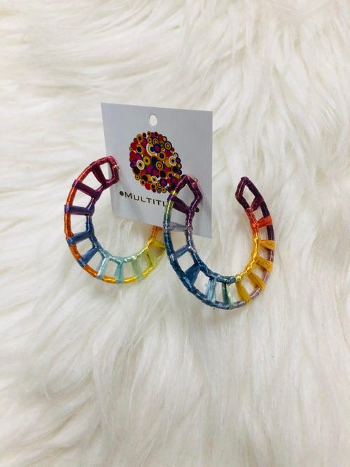 "Our Rainbow Wrapped in Raffia Earrings are exceptionally cute and trendy! Pair them with a sundress that's one of the colors in the earrings, or pair with our charcoal tee dress for a pop of color!  Approx 2"". Best Online Boutique."