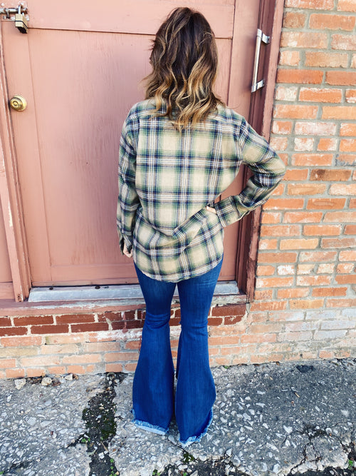 Flannel Shirt for Women by Multitudes - This Classic Tan Plaid Boyfriend Flannel is one every closet needs! This women's tan flannel shirt is a bit oversized, is super soft, and has tan, hunter green, and a touch of brown in the plaid. Honeysuckle Tees. Multitudes Boutique. Cutest Online Boutique. Plaid Flannel Shirt.