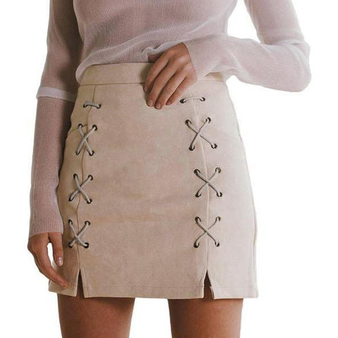 Cross Strap Suede High Waist Women Pencil Skirts