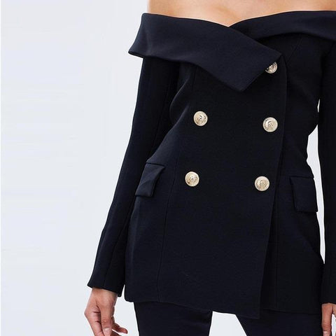 Black Double Breasted Off Shoulder Women Blazer Jacket For Blog