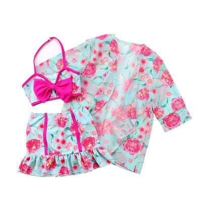 3pcs. Floral Print Baby Girls Swimwear + Toddler Swim Cover Up Swimwear Kids Now Apparel