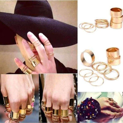 9pcs. Golden Punk Stack Women Ring Set Rings Daisy Dress For Less