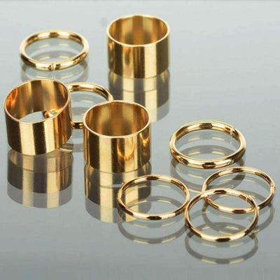 9pcs. Golden Punk Stack Women Ring Set