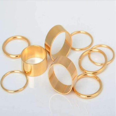 Daisy Dress For Less Rings 9pcs. Golden Punk Stack Women Ring Set