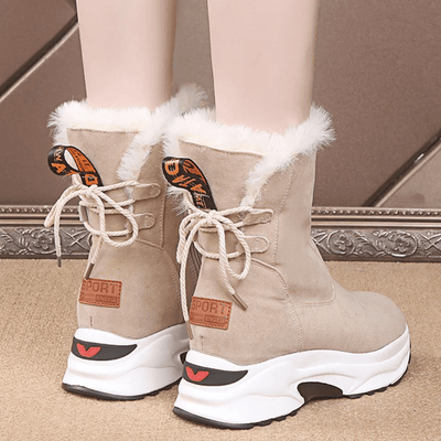 Ankle Faux Fur Boots Women's Lace Up Snow Boots Ankle Boots Daisy Dress For Less