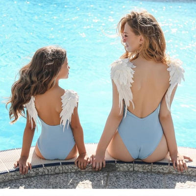 Backless Embroidery Wing One Piece Mommy And Me Swimsuits Swimsuits Kids Now Apparel