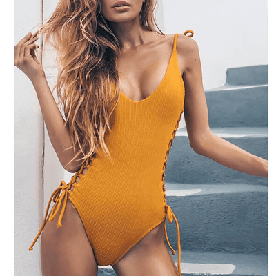 Backless One Piece Swimsuit Lace Up Bathing Suit Swimsuits Daisy Dress For Less