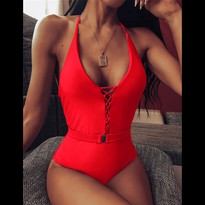 Backless One Piece Swimsuit Lace Up Halter