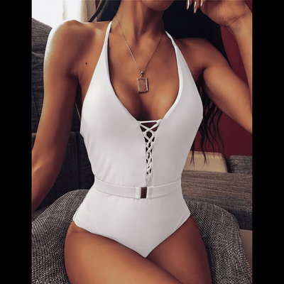 Backless One Piece Swimsuit Lace Up Halter Swimsuits Daisy Dress For Less